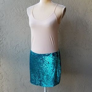 Haute Hippie Aqua Sequin Mini Skirt